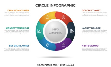 6 points infographic template with circle layout vector.