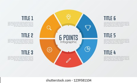 6 points, options, parts, processes, work flowsteps, steps infographic element circle shaped vector. business presentation template.