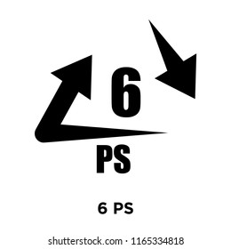 6 PS icon vector isolated on white background, 6 PS transparent sign , warning symbol