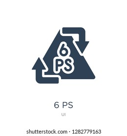 6 ps icon vector on white background, 6 ps trendy filled icons from UI collection, 6 ps vector illustration