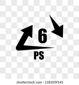 6 PS vector icon isolated on transparent background, 6 PS logo concept