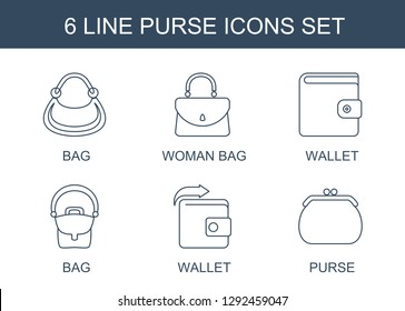 6 purse icons. Trendy purse icons white background. Included line icons such as bag, woman bag, wallet, Wallet. purse icon for web and mobile.