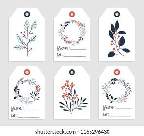 6 redy to print christmas gift tag with place for your text. Christmas tags with branches, berries and wreaths in blue, red and white colors. Vector collection