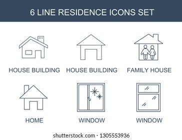 6 residence icons. Trendy residence icons white background. Included line icons such as house building, family house, home, window. residence icon for web and mobile.