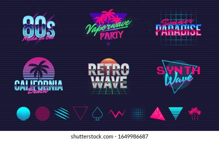 6 Retro neon logo templates and 10 trendy elements to create your own design. Print for t-shirt, banner, poster, cover, badge and label. Retro 80's typography design. Vector illustration