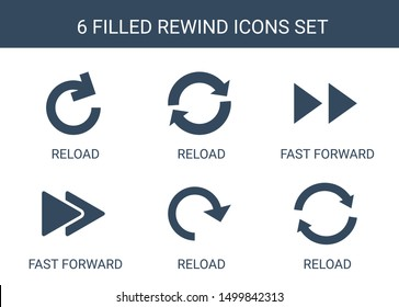 6 rewind icons. Trendy rewind icons white background. Included filled icons such as reload, fast forward. rewind icon for web and mobile.