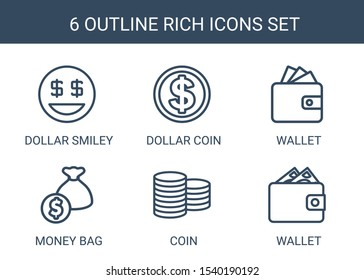 6 rich icons. Trendy rich icons white background. Included outline icons such as dollar smiley, dollar coin, Wallet, money bag, Coin, wallet. rich icon for web and mobile.