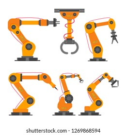 6 Robotic arm flat style design vector illustration icons signs set collection isolated on white background. Robot arm or hand. Industrial robot manipulator. Modern smart industry 4.0 technology.