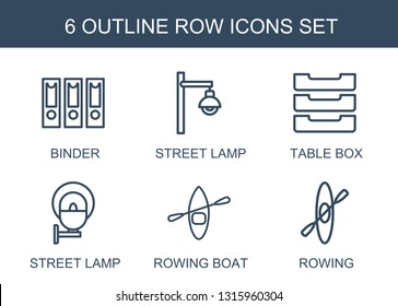 6 row icons. Trendy row icons white background. Included outline icons such as binder, street lamp, table box, rowing boat, rowing. row icon for web and mobile.