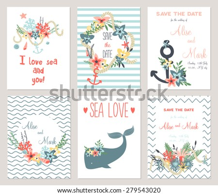 6 Save Date Cards Template Collection Stock Vector Royalty Free