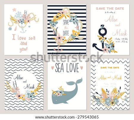 6 Save Date Cards Template Collection Stock Vektorgrafik Lizenzfrei