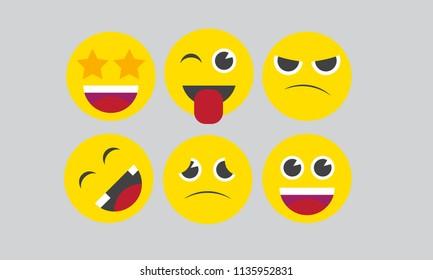 6 Simple flat vector emoji icon