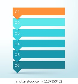 6 Step Arrow List Colorful Banners Infographic Diagram