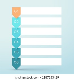 6 Step Arrow List White Banners Infographic Diagram