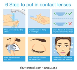 6 step to put in contact lens