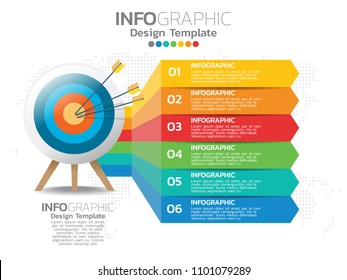 6 step of timeline infographics design template with options, process diagram, vector eps10 illustration