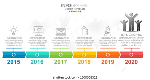 6 step of timeline infographics design template with options, process diagram.