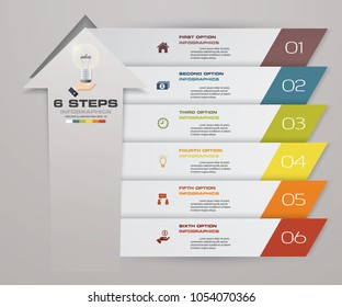 6 steps of arrow Infografics template. for your presentation. EPS 10.