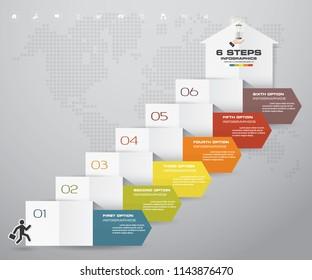 6 steps arrow infographic elements for data presentaton. EPS 10.