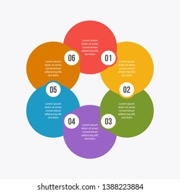 6 steps Circle chart, Circle infographic or Circular diagram