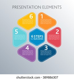 6 steps to sucsess. Circle colored steps. Template for diagram, graph, presentation and chart. Business concept with 6 options, parts, steps or processes with text