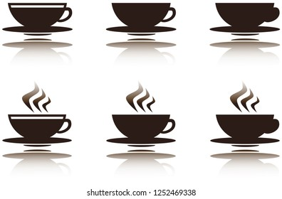 6 styles of coffee and chocolate cups with reflections