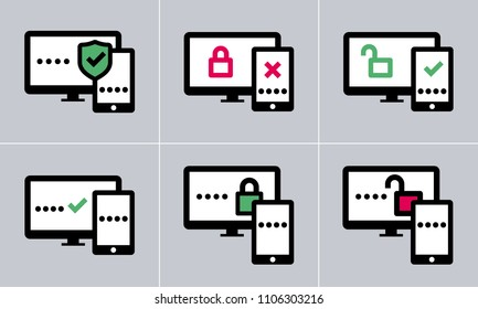 6 variations of vector two factor authentication icons
