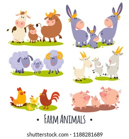 6 vector cards with cute farm animals family: cow and bull, goat, donkey, rooster and hen with yellow chicken, pig and piglet, sheep. Educational activity for children and toddlers