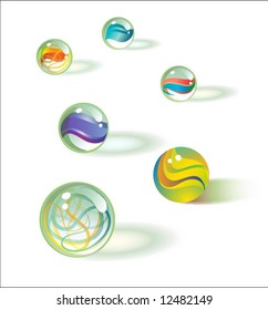 6 vector glass marbles set 1