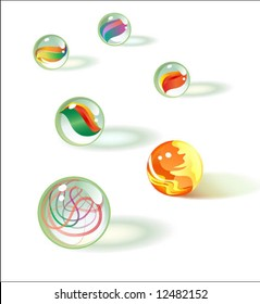 6 vector glass marbles set 2
