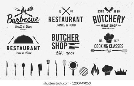6 Vintage logo templates and 14 design elements for restaurant business. Butchery, Barbecue, Restaurant emblems templates. Vector illustration