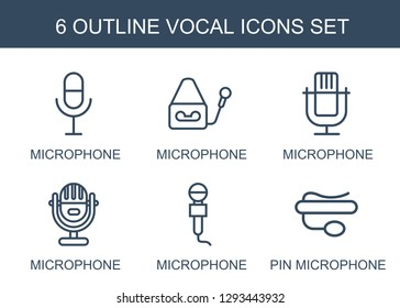 6 vocal icons. Trendy vocal icons white background. Included outline icons such as microphone, pin microphone. vocal icon for web and mobile.