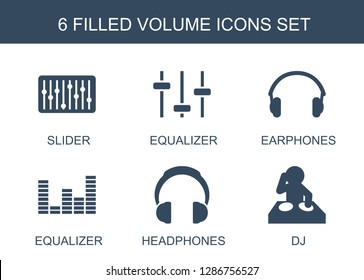 6 volume icons. Trendy volume icons white background. Included filled icons such as slider, equalizer, earphones, headphones, dj. volume icon for web and mobile.