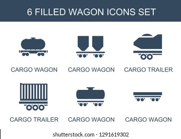 6 wagon icons. Trendy wagon icons white background. Included filled icons such as cargo wagon, cargo trailer. icon for web and mobile.