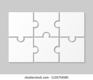 6 White Puzzle Pieces - JigSaw. Vector Illustration Puzzle for Web Design. Vector Object Shape. Business Presentation. Information Design. Puzzles Pieces. 6 Pieces for Infographics.