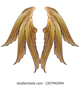 6 winged seraphim wings template. Medieval gothic style concept art. Design element. Brightly colored drawing. Medieval Manuscript pallette. EPS10 vector