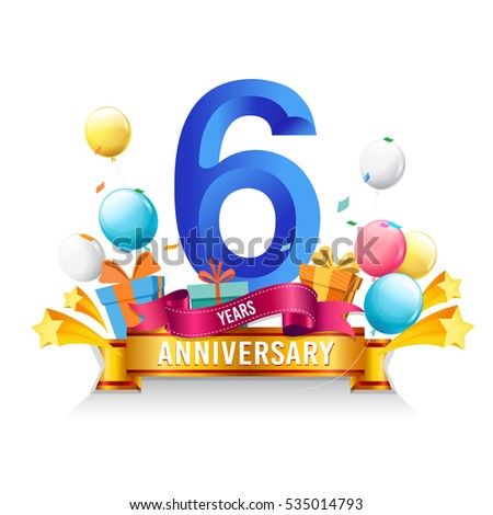 6 Years Anniversary Celebration Logo Birthday Vector Illustration With Gift Box And Balloons