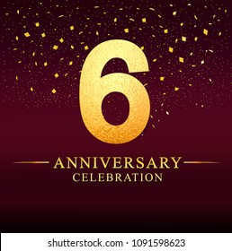6 years anniversary. celebration logotype 6th years.Logo with golden and on dark pink background, vector design for invitation card, greeting card.