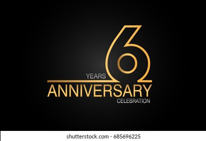 6 years anniversary celebration logotype. anniversary logo with golden and silver color isolated on black background, vector design for celebration, invitation card, and greeting card