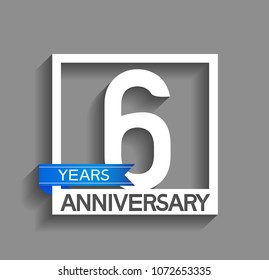 6 years anniversary celebration square style blue ribbon isolated on gray background