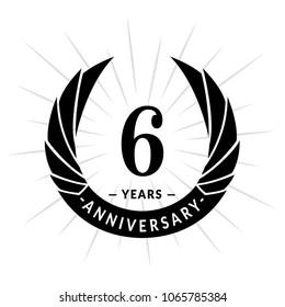 6 years anniversary. Elegant anniversary design. 6 years logo.