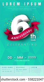 6 years anniversary invitation card or emblem - celebration template design , 6th anniversary modern design elements with  background polygon and pink ribbon - vector illustration.