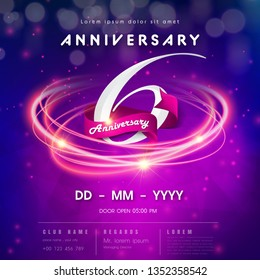 6 years anniversary logo template on purple Abstract futuristic space background. 6th modern technology design celebrating numbers with Hi-tech network digital technology concept design elements.