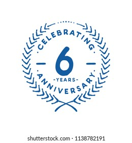 6 years design template. 6th vector and illustration.