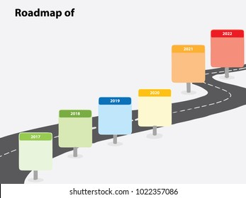 6 Years Roadmap Infographic Template. From 2017 to 2022. Flat style graphic design Template or Background. Can be used for Powerpoint Presentation. Vector illustration EPS 10