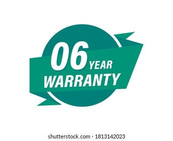 6 Years warranty badge vector images