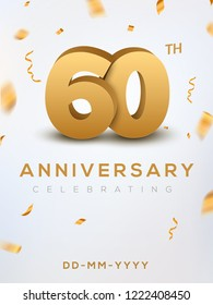 60 Anniversary gold numbers with golden confetti. Celebration 60th anniversary event party template