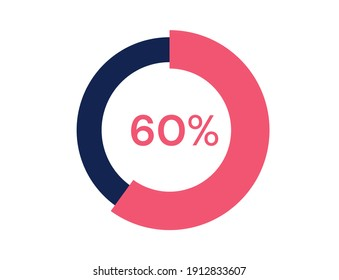 60% circle diagrams Infographics vector, 60 Percentage ready to use for web design