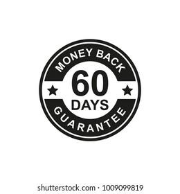 60 Days Money Back Guarantee Icon black Color
