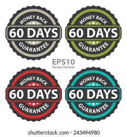60 days money back guarantee on vintage, retro sticker, badge, icon, stamp isolated on white, vector format